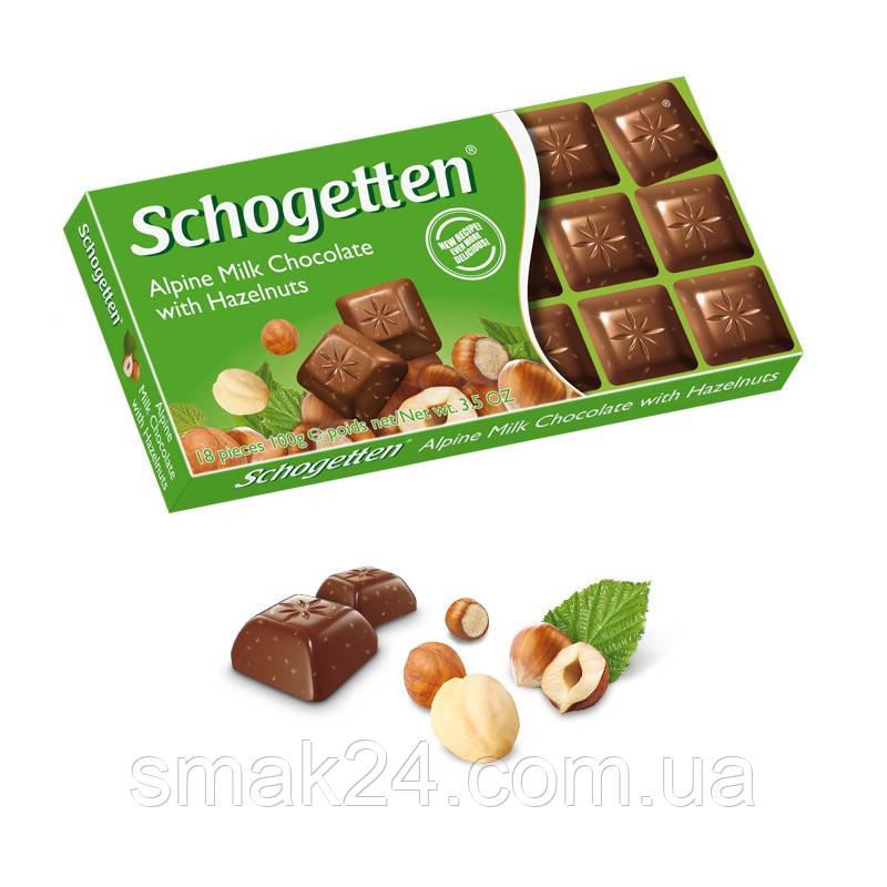 Шоколад Schogetten Alpine Milk with Hazelnuts ( Шогеттен  Альпийское молоко с фундуком), 100г, Германия