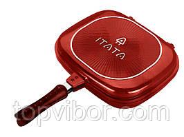 🔝 Двойная сковорода гриль ITATA, 32 см. - Красная, форма - квадратная, с доставкой по Киеву и Украине | 🎁%🚚