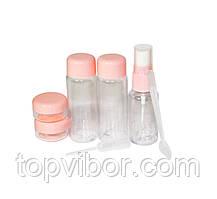 🔝 Дорожный набор емкостей, Розовый, пластик.Это, Набор емкостей для путешествий   🎁%🚚