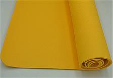 Коврик для тренировок йоги и фитнеса Йога мат ТРЕ 173х61 см толщина 6 мм Желтый