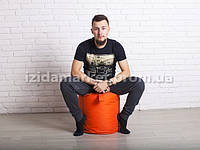 Пуфик кресло бочек оранжевого цвета