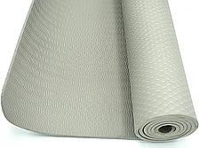 Коврик для тренировок йоги и фитнеса Йога мат ТРЕ 173х61 см толщина 6 мм Серый
