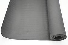 Килимок для тренувань йоги та фітнесу Йога мат ТРЕ 173х61 см товщина 6 мм темно-сірий