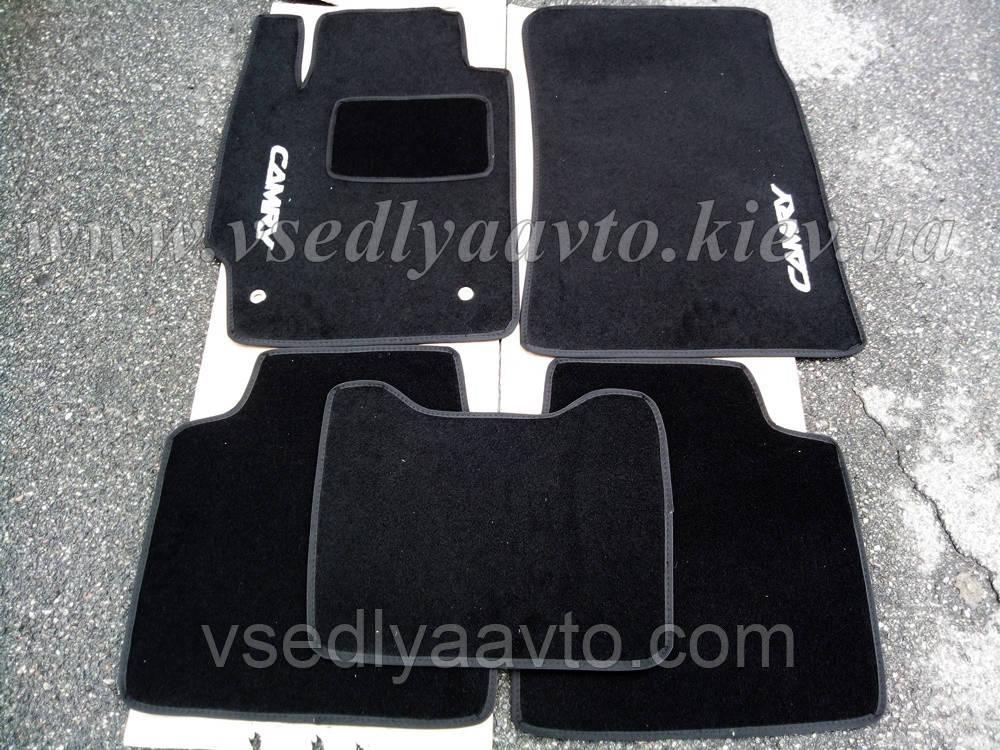 Ворсовые коврики в салон Тойота Camry v40 с 2006-2011 гг. (Черные)