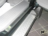 Защита порогов - накладки на пороги Тойота HILUX II 4-дверкас 2005 г. (Premium)