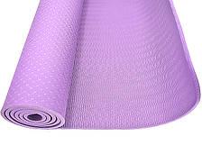 Килимок для тренувань йоги та фітнесу Йога мат ТРЕ 173х61 см товщина 6 мм Фіолетовий