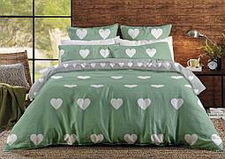 Белье постельное двуспальное ТЕП Ranforce Mint Love Hearts