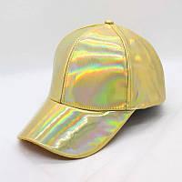 Кепка бейсболка Блестящая Голограмма Золотая, Унисекс, фото 1