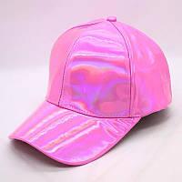 Кепка бейсболка Блестящая Голограмма Розовая, Унисекс, фото 1