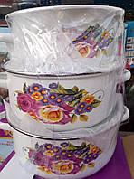 Набор эмалированных кастрюль из 5 шт со стеклянными крышками