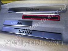 Защита порогов - накладки на пороги Renault LOGAN II с 2010 г. (Premium)