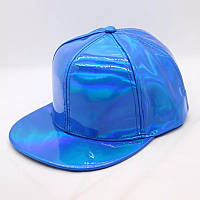 Кепка снепбек Блискуча з прямим козирком Голограма Синя, Унісекс, фото 1