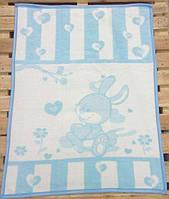 Детский плед-одеяло зайка голубой