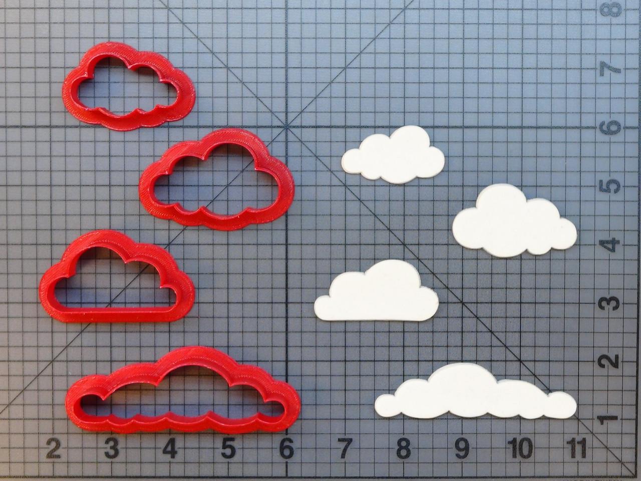 Набір вирубки - хмари різних форм(4шт). Пластикові вирубки. Вирубка під замовлення. Різаки для пряників.