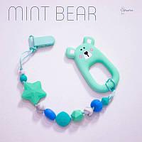 Силиконовая игрушка-грызунок на держателе Mint bear BABY MILK TEETH
