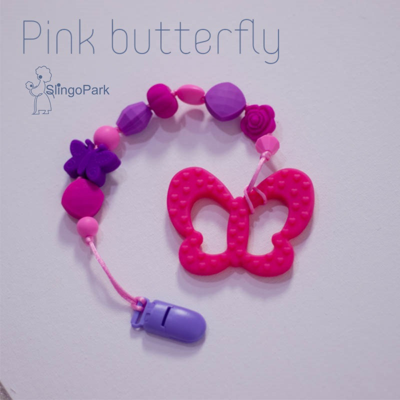 Грызунок из пищевого силикона BABY MILK TEETH Pink Butterfly