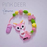 Грызунок из пищевого силикона BABY MILK TEETH Pink Deer