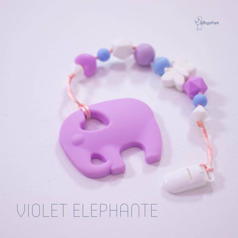 Грызунок из пищевого силикона BABY MILK TEETH Violet Elephante