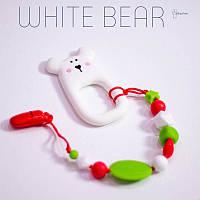 Силиконовая игрушка-грызунок на держателе White bear BABY MILK TEETH