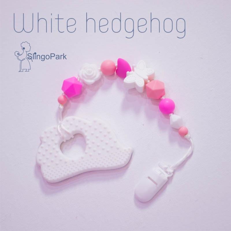 Грызунок из пищевого силикона BABY MILK TEETH White Hedgehog