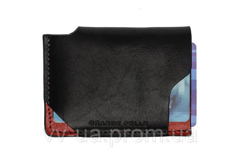 Картхолдер Grande Pelle Piccolo, глянец, черный с красным, кожа (30461060)