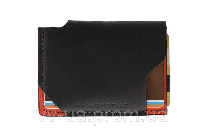 Картхолдер Grande Pelle Piccolo, черный с красным, кожа (30411060)