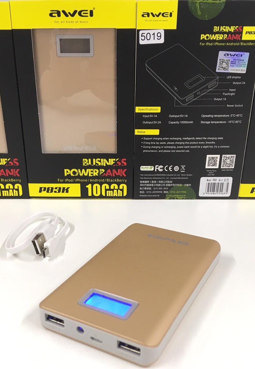 Внешний аккумулятор беспроводной Awei P83K Power Bank 10400 mAh