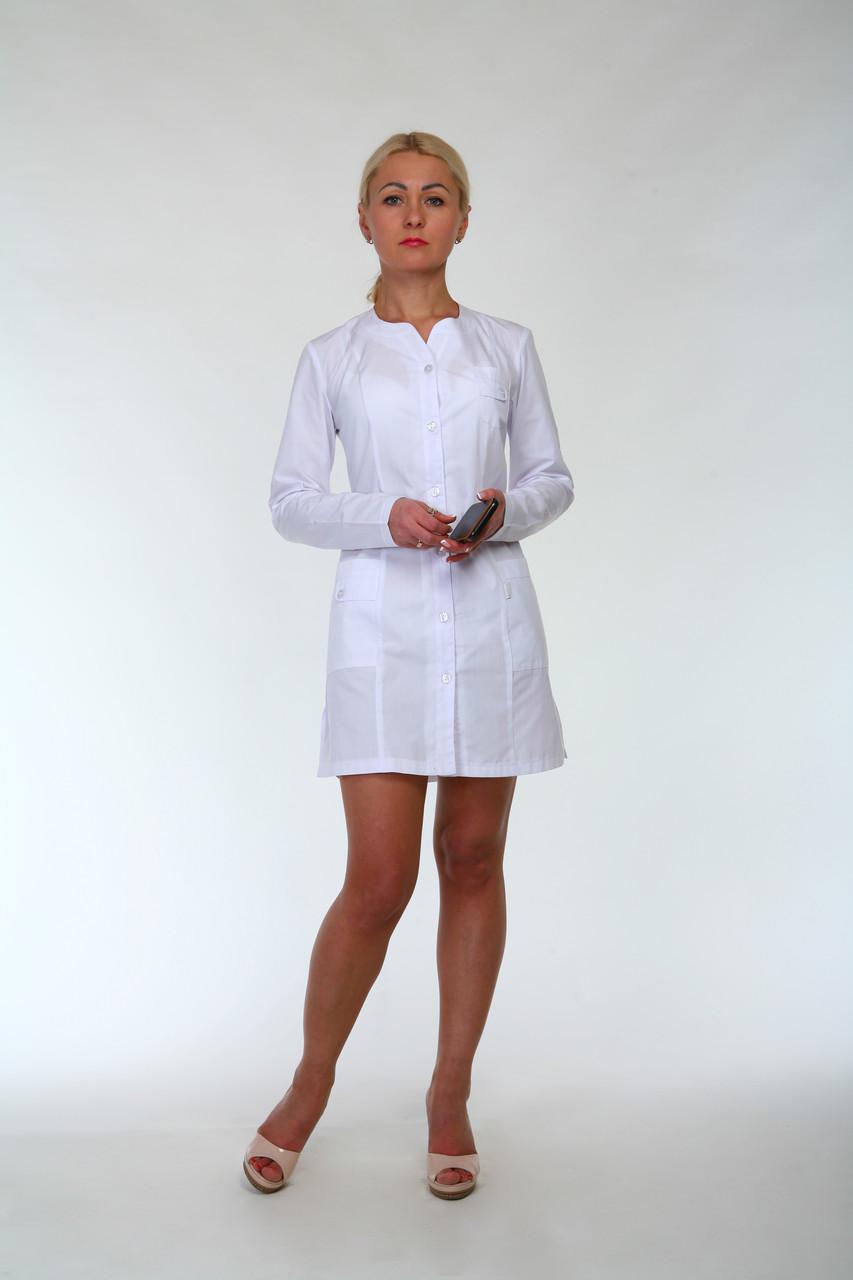 Медицинский халат с длинным рукавом 2199 (батист 42-52 р-ры )