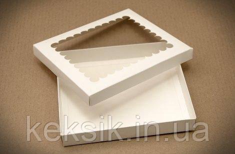 Коробка для пряників кришка з віконцем білі 20*17*3
