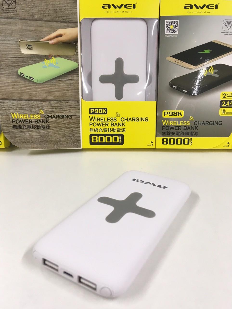 Внешний аккумулятор беспроводной Awei P98K Power Bank 8000mAh
