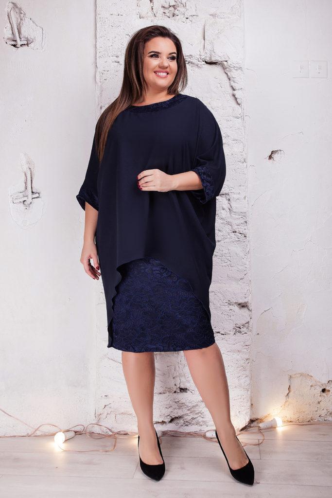 Женское платье с накидкой темно-синее 8303