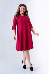 Женское платье трапеция бордовое 8203