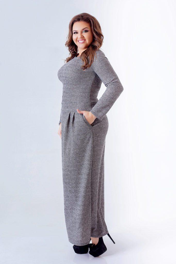 Трикотажное платье в пол с кармашками черное 8078