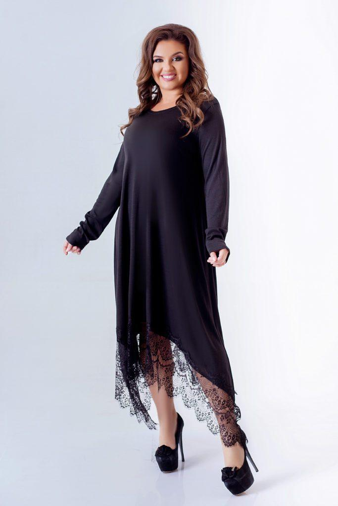 Женское асимметричное платье с кружевами черное 8292
