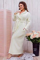 Женский махровый халат белый 8226