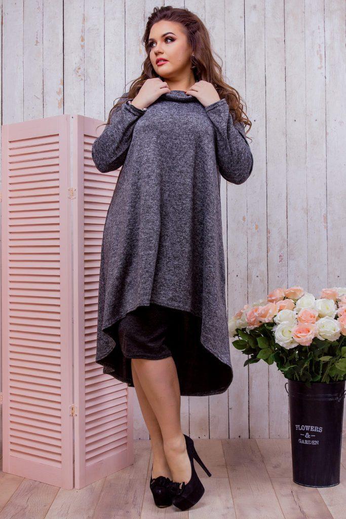 Женское ангоровое платье черное + юбка 8233