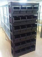 Стеллаж АТМ2 Н1800х1000х300мм и 24 шт черных ящика 350х210х200 мм