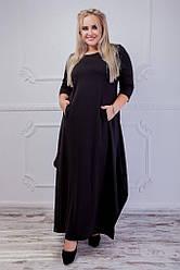 Женское платье с кармашками черное 8241