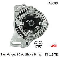 Генератор на Volkswagen Transporter T4 1.9 TD, Фольксваген Транспортер Т4 1.9 тд. 90А-6паз. A3083 (AS-PL)