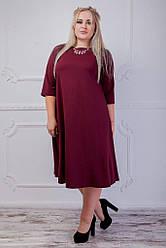 Женское миди-платье бордовое 8203