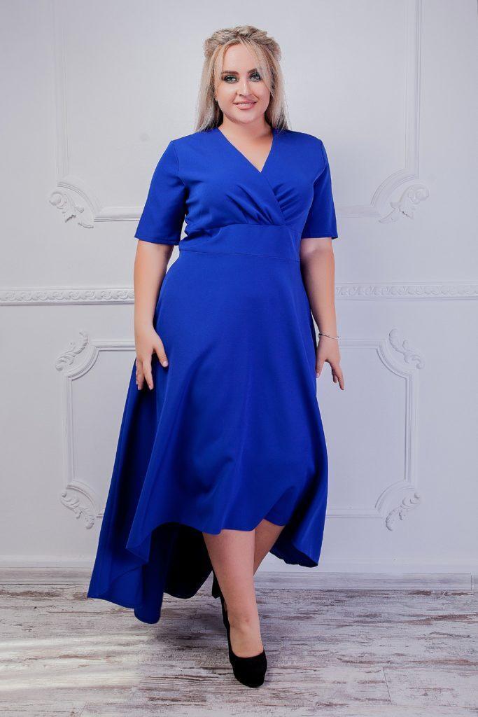 Платье с V-образным вырезом бирюза 8251
