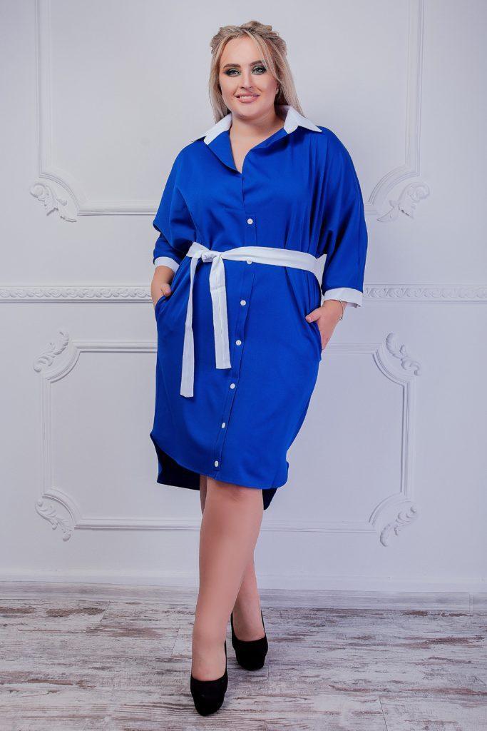 Платье с поясом электрик 8237