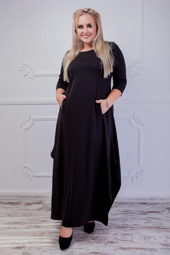 Женское платье с кармашками серое 8241