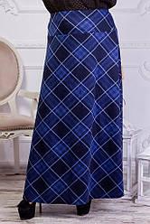 Женская трикотажная юбка в пол ромб хаки 8156