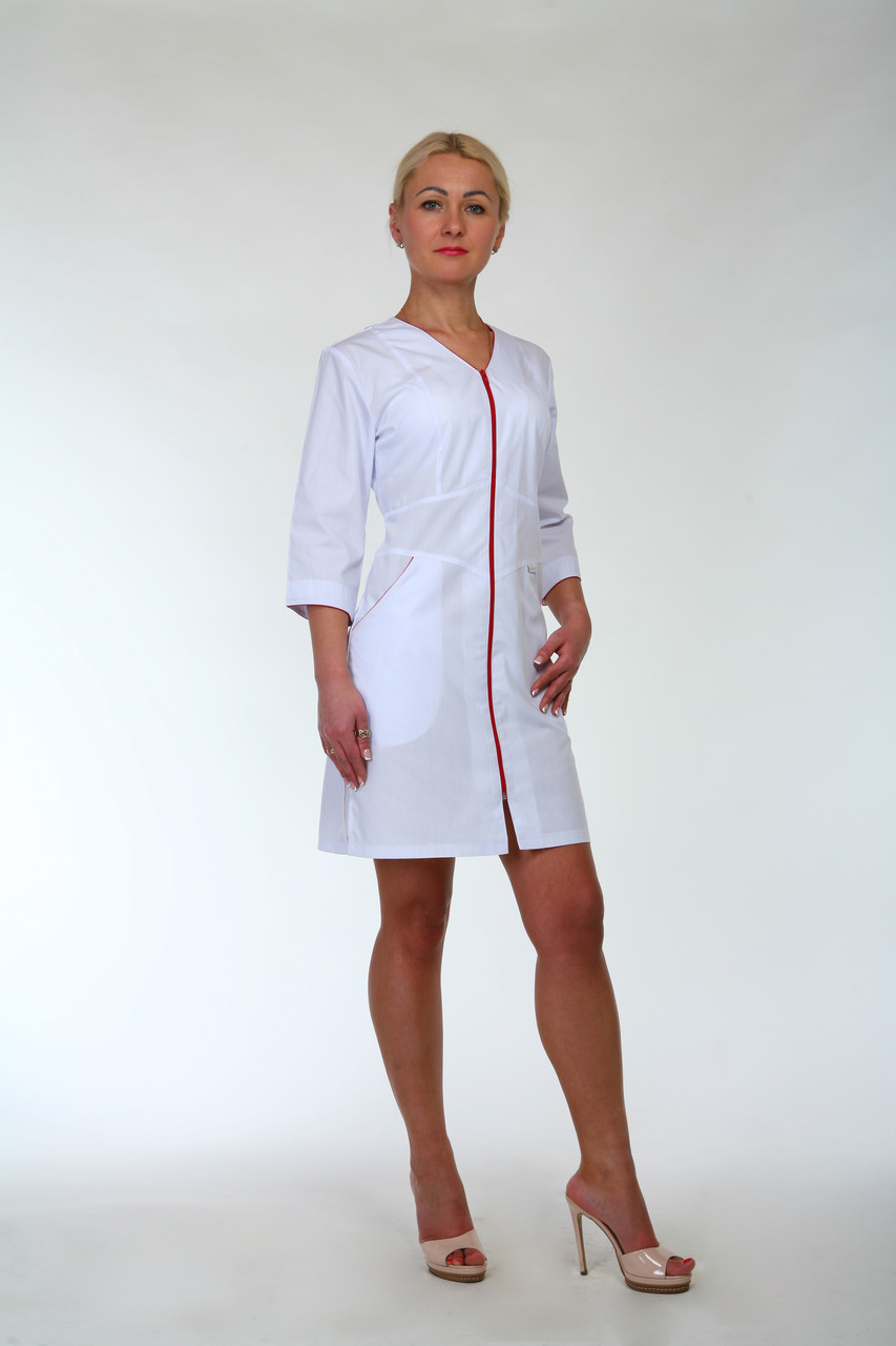 Медицинский халат женский на молнии 2196 (батист 42-60 р-ры )