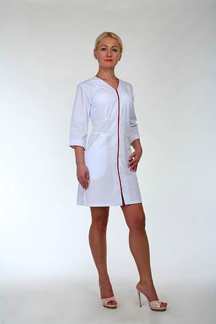 Медицинский халат женский на молнии 2196 (батист 42-60 р-ры ), фото 2