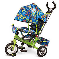 """Велосипед трехколесный детский """"Чудо остров"""" LE-3-01 Надувные колеса. Усиленная двойная ручка. Зелено-синий"""