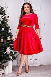Женское бархатное платье Шик красное с поясом 8216