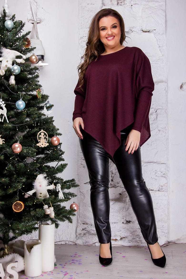 Женская блуза трикотаж ангора бордовая 8288