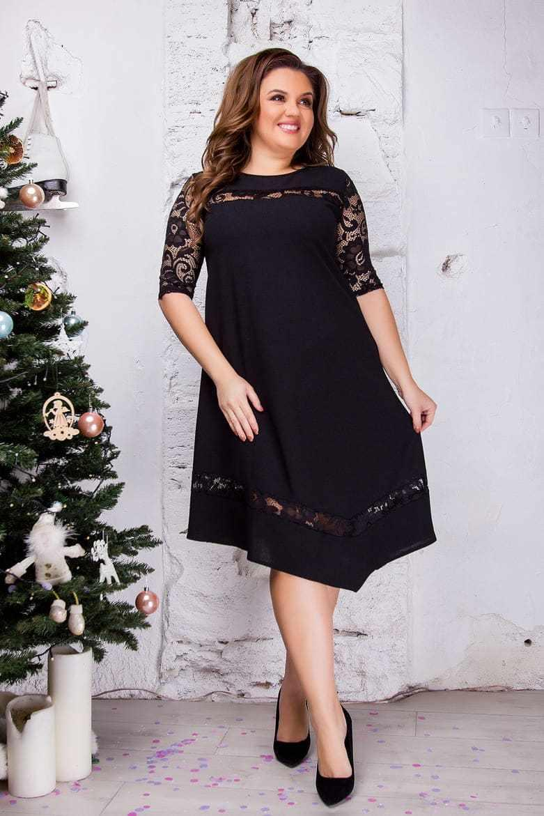 Асимметричное нарядное гипюровое черное платье 8284